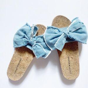 Lucky Brand• denim bow cork slip on sandals